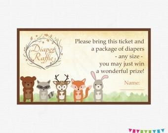 Woodland Baby Shower, Diaper Raffle Ticket, Diaper Raffle Sign and Raffle Cards, Woodland Animals Baby Shower, Printable Download WD01