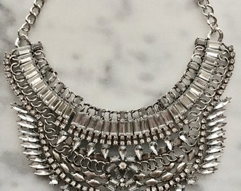 LADBROKE    Crystal Bib Statement Collar Necklace