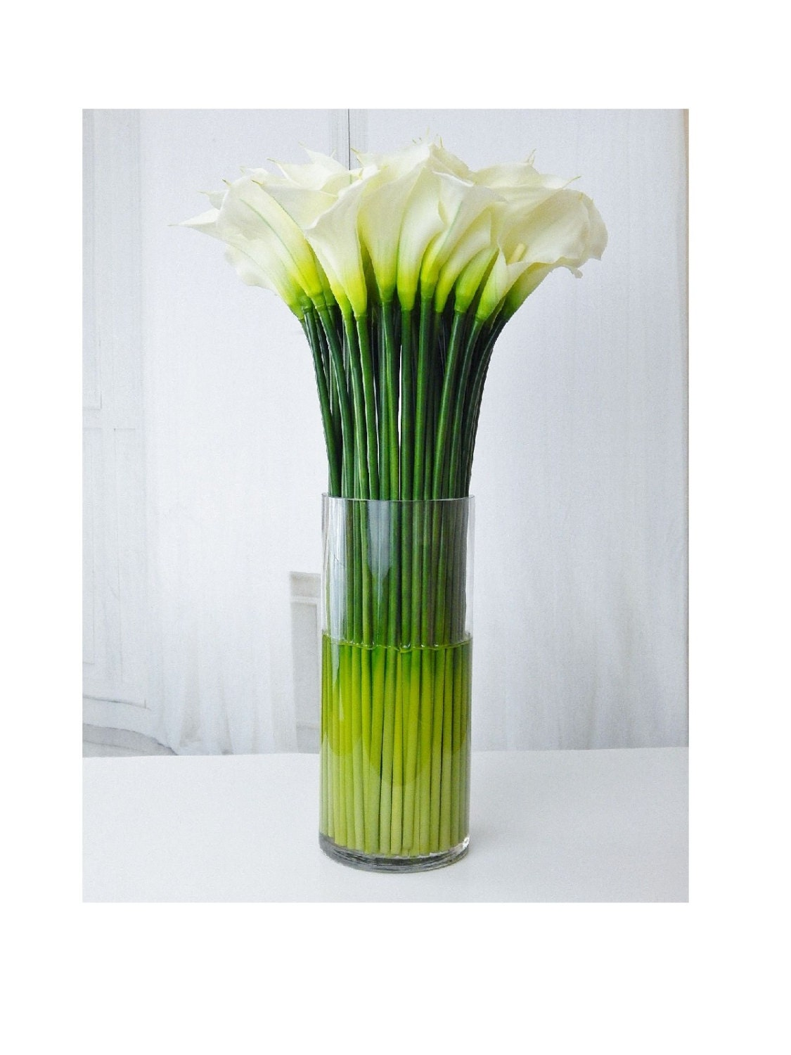 Largetall silk modern floral arrangement calla lilylilies largetall silk modern floral arrangement calla lilylilies white faux water acrylicillusion real touch flowers centerpiece glass reviewsmspy