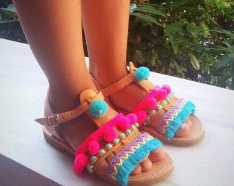 Leather Sandals Kids, Ethnic Sandals Kids, Boho Sandals Kids, Shoes Kids, Made in Greece by Christina Christi Jewels.