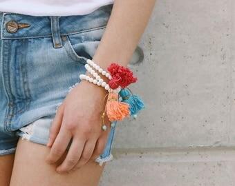 White Beaded Bracelets, Tassels Bracelets, Beaded Bracelets, Women's Jewelry, by Christina Christi Jewels.