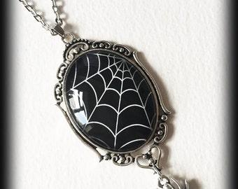 Gothic Cobweb Necklace with Spider Charm, Glass Cameo Pendant, Alternative Jewelry, Handmade Necklace, Gothic Jewelry, Gothic Gift For Her
