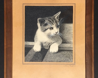 Vintage pencil drawing of a cat, signed and dated, 1940s, original frame, cat portrait