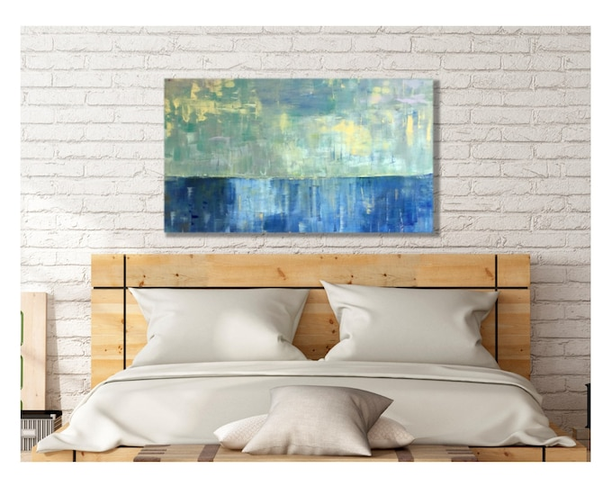 Art Canvas Print Giclee Painting -- Pacific Ocean with Peaceful Sky, Multiple Sizes, Beach View, Horizon, Seascape, Light Reflections, Sea
