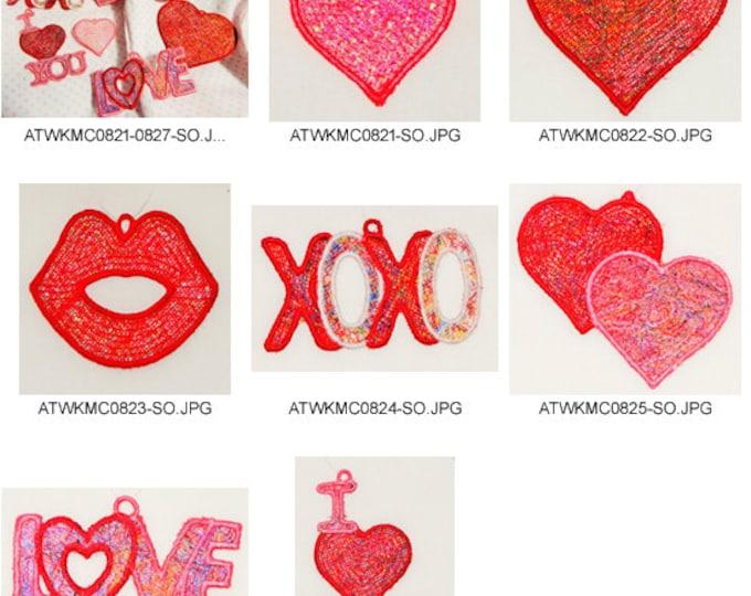 Valentine-Threadies-FSL-KMC Embroidery Designs( 8 Machine Embroidery Designs from ATW )