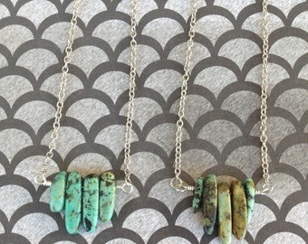 African Turquoise Simple Pendant Necklace