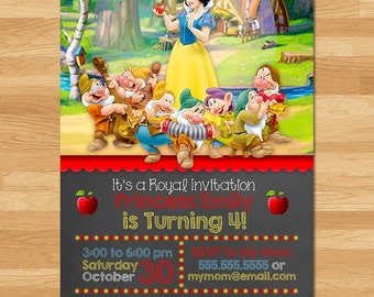 Snow White Invitation - Chalkboard - Snow White Invite - Disney Princess Invite - Princess Printables - Snow White Birthday Party Favors