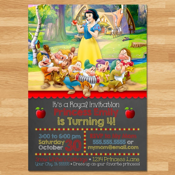Snow White Invitation - Chalkboard - Snow White Invite - Disney Princess Invite - Princess Printables - Snow White Birthday Party Favors