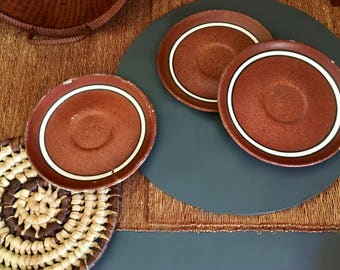 Vintage Southwestern Striped Terracotta Plates / Saucers / Decorative Plates - Set of Three - Made in Peru - Vintage Southwestern Decor