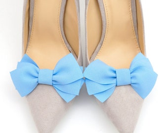 Blue shoe clips - bow shoe clips Manuu, elegant shoe accessories, blue bows, something blue