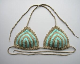 Crochet Striped Bikini Top - Custom Made