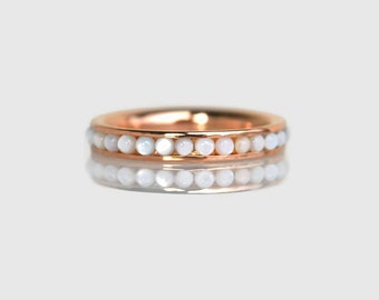 pearl ring rose gold, promise ring, anniversary ring, eternity ring, eternity band, rose gold eternity ring, eternity wedding band