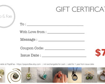 Gift Certificate, AUD75, 75, Gift Voucher, Resin Jewelry, Gifts for Her,