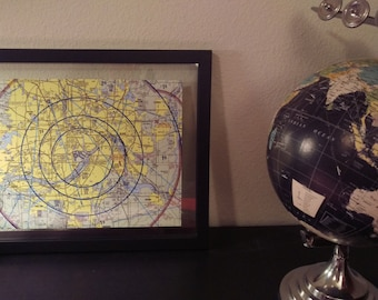 """Custom Floating Framed Aviation Map, Chart, Sectional, Gift for Pilot, Black Frame, Aircraft, Frame, Plane, Unique, Individual 11""""x14"""""""
