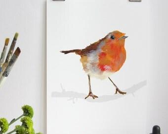 Garden Birds Print - Red Robin