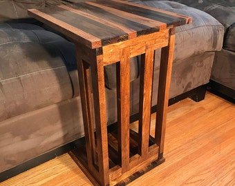 Sofa / Laptop Side Table Mission Style Stained Dark