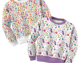 Candy Sweater Candies Sweatshirt Colorful Candy Pattern Jumper **MTO Month Sz XS-3XL Men, Women, Kids**