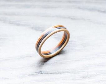 Skateboard Ring -orange black Wooden Ring - Wooden bands - Wood Ring - Black - Wooden Jewelry - Waterproof Ring - Skate Ring -Wedding Ring