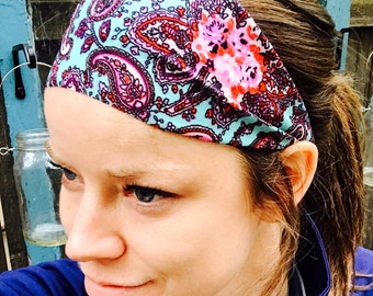 CHILD SIZE ONLY Yoga/Fitness/Running Wide Headband- Paisley Mint