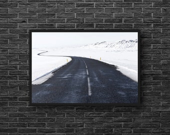 Way Print - Winter Road Photo - Snow Photo - Road Photo - Winter Photography - Winter Wall Art - Nature Wall Decor - Living Room Decor