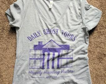 Haunted Mansion Fandom Tee - XS-L / Womens Gray V-Neck T-Shirt