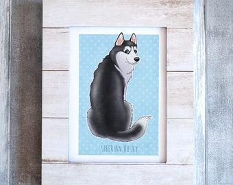 Wall Art, Siberian Husky, Print Illustration