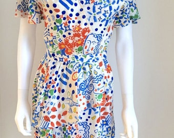 1980s Dress / Lorcan Mullany for Belville Sassoon / Silk / Art Print / Peplum / UK S