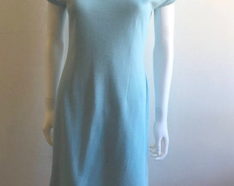 1960s Dress / Wiggle / Tailored / Baby Blue / M