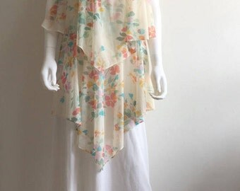 1970s Dress / Maxi / Floral / Cape / Chiffon / M-L