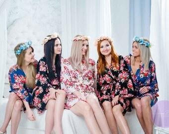 Bridesmaid Robes, Bridesmaid Gift, Bridesmaid Dress, Getting Ready, Floral Robe, Wedding Robe, Kimono Robe, Gift for Bridesmaid