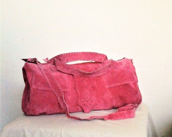 pink leather bag, travel bag, duffle bag, recycled leather bag, cross body bags, boho bag, travel bags women, big bag, suede bag
