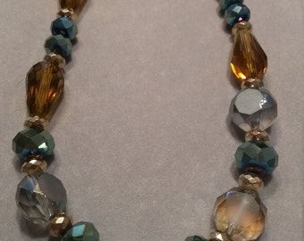 Bronze Green Glass Beaded Necklace