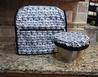Handmade Fabric Kitchenaid Mixer Cover and Matching Bowl Cover in Star Wars with Storm Troopers Dark Side Print Set