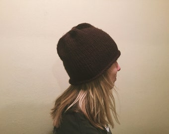 Handmade Mocha Brown Knitted Beanie