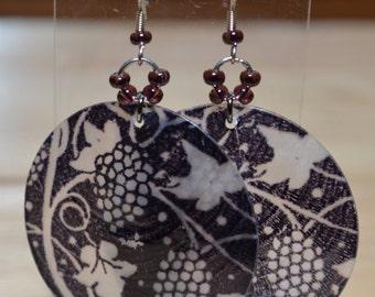 Grapes & Leaves on Shell earrings