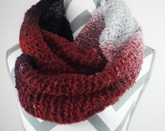 Super Chunky Scarf, Valentines Day Gift Ideas, Chunky Knit Scarf, Knit Cowl, Infinity Red Scarf, Women Scarf, Winter Scarf, Chunky Cowl