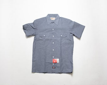 Dickies work shirt etsy for Blue cotton work shirts