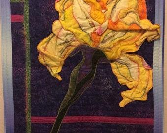 Yellow Iris Art Quilt