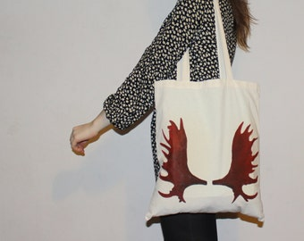 Cool moose antlers tote bag with long handles/ handmade/ hand-painted handbag/ shopping bag/ nordic design/ self-made design