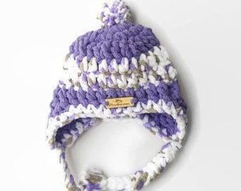 Crochet Baby Hat - Trapper Hat - Crochet Hat - Baby boy Hat - Toddler Hat - Purple Hat - Baby Shower gift - Winter Hat - bulky Hat