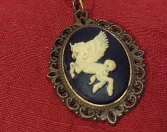 Black and White Pegasus Cameo Necklace