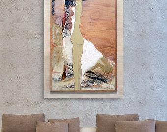 Wood Acrylic Painting, Large Wall Art, Mixed Media Art, Painting On Wood, Abstract Painting Original, Textured Painting Woman, Abstract Art