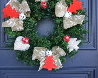 Christmas Wreath Country Snowflakes