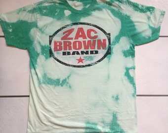 Zac Brown Band Road Trip 2014 Bleached T-Shirt / Bleach Distressed Zac Brown Road Trip 2014 Tour T Shirt