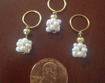 Cluster pearls and gold vermeil stitch markers- set of 3