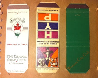 Vintage Match Book Covers, Set of Three, 3 Matchbook Covers, Fox Chapel Golf Club, Harvard Yale Princeton Club, Womens City Club, Chic Style