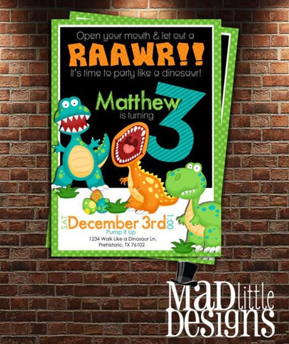 Dinosaur Invitation, Rawr, Dinosaur Party, Dino Invitation, Dinosaur Birthday, Digital Download, Boy