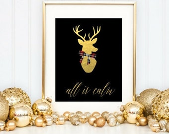 instant download Gold deer head  wall art/Christmas printable wall art/Digital Holiday wall decor/Modern Holiday 8x10 printable wall art
