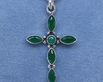 Natural Emerald Small Cross Pendant Necklace - India Emerald - Sterling Silver - E151050 - Free Shipping