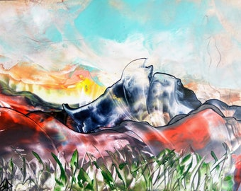 "Abstract Encaustic Painting ""Mountains"""